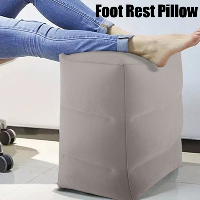 PVC Inflatable Foot Rest Pillow Travel Airplane Car Bus Footrest Pillows Height Adjustable Kids Flight Sleeping Resting Pillow image