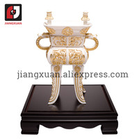 White ceramic hand sculpture 24k gold foil decorations tripod white porcelain ornament for home
