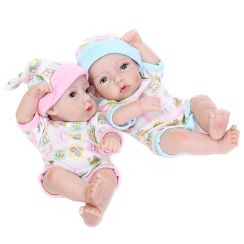 Cute Pair Of Dolls Rebirth Baby Dolls Soft Silicone Body With Basket And Pillow Newborn Toys for Children Birthday Gift Doll Toy