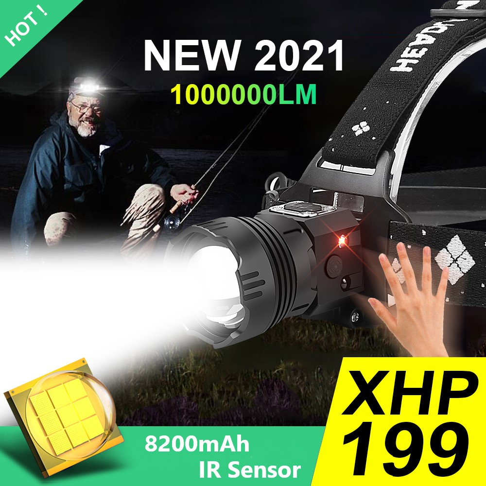 1000000LM Powerful Led Headlamp XHP199 Rechargeable Head Flashlight XHP90 Usb Fishing Headlight 18650 IR Sensor Head Lamp Lights