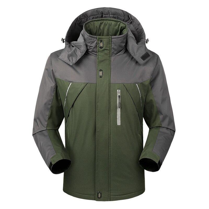 Осенняя и зимняя мужская спортивная куртка, плюс размер, Повседневный плащ, мужская куртка, плюс бархат, толстая, теплая, на открытом воздухе, Ветроустойчивая - Цвет: Зеленый