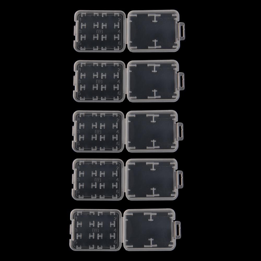 10PCS Plastic Transparent Standard SD SDHC Memory Card Case Holder Box Storage