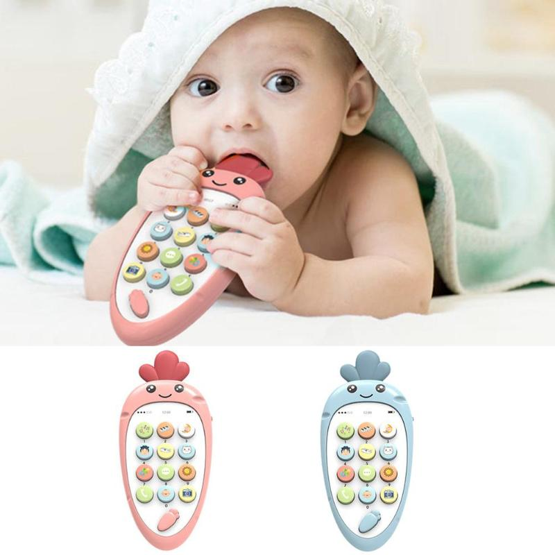 Electronic English Learn Cellphone Toys Hand-Eye Coordination Analog Dialing Cartoon Telephone Baby Educational Gifts