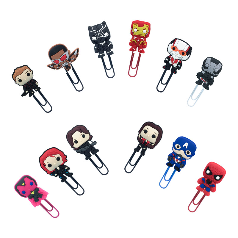 12Pcs Marvel's The Avengers Bookmark Metal Clips Page Holder For Teacher Students Paper Clip School Supplies Decoration Gifts
