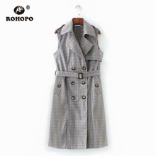 ROHOPO Double Buttons Notched Collar Sleeveless Belted Plaid Grey Dress British Academy Slim Chi Ladies Mini Robe #XL6083 недорого