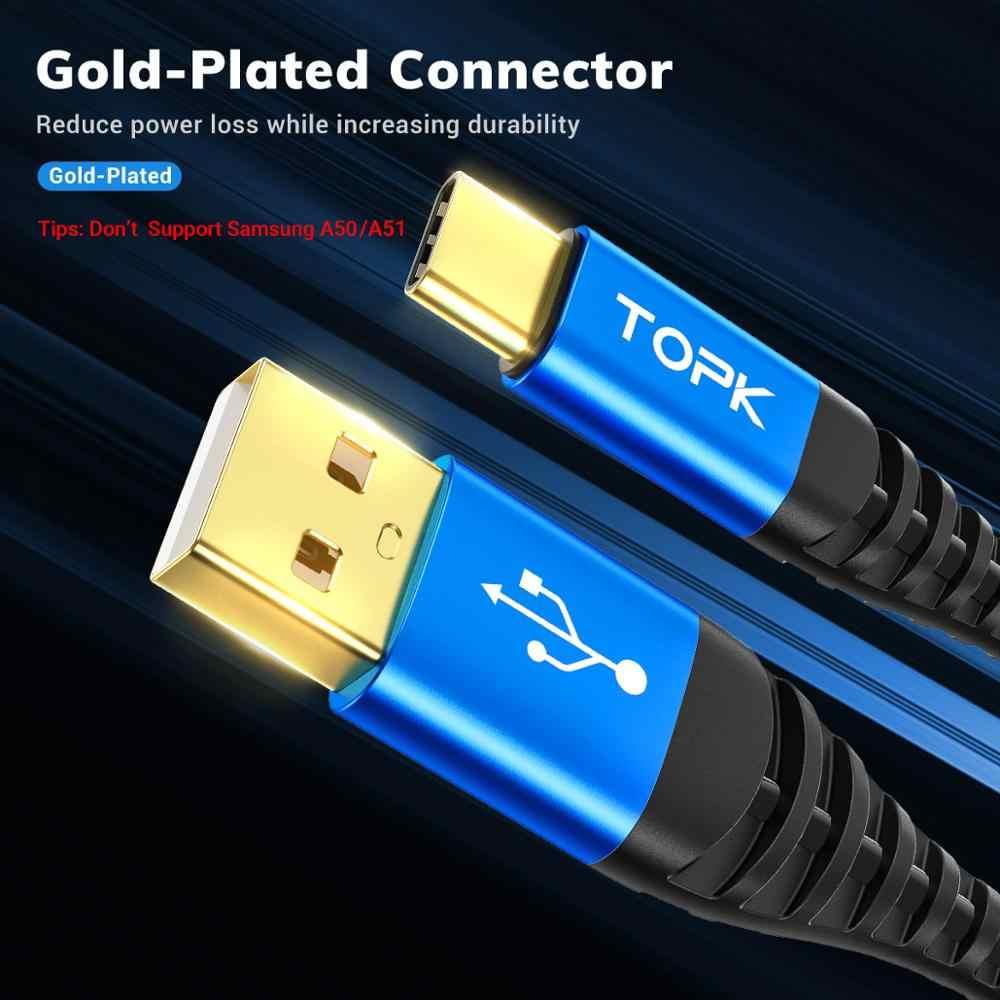 TOPK מיקרו USB כבל & סוג C כבל 3A מהיר טעינה עבור סמסונג Xiaomi נייד טלפון נתונים כבל סוג-C עבור Xiaomi Redmi הערה 8