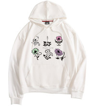 Color flower graphic print hoodie men and women Hooded sweatshirt Harajuku O collar hoodie sweatshirt street clothing hoodie eyelet drawstring graphic hoodie