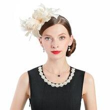 Fascinator Wedding Hats For Women Elegant Champagne Feather Cupid Pillbox Hat Vintage Headband Cocktail Lady Church Fedoras цены