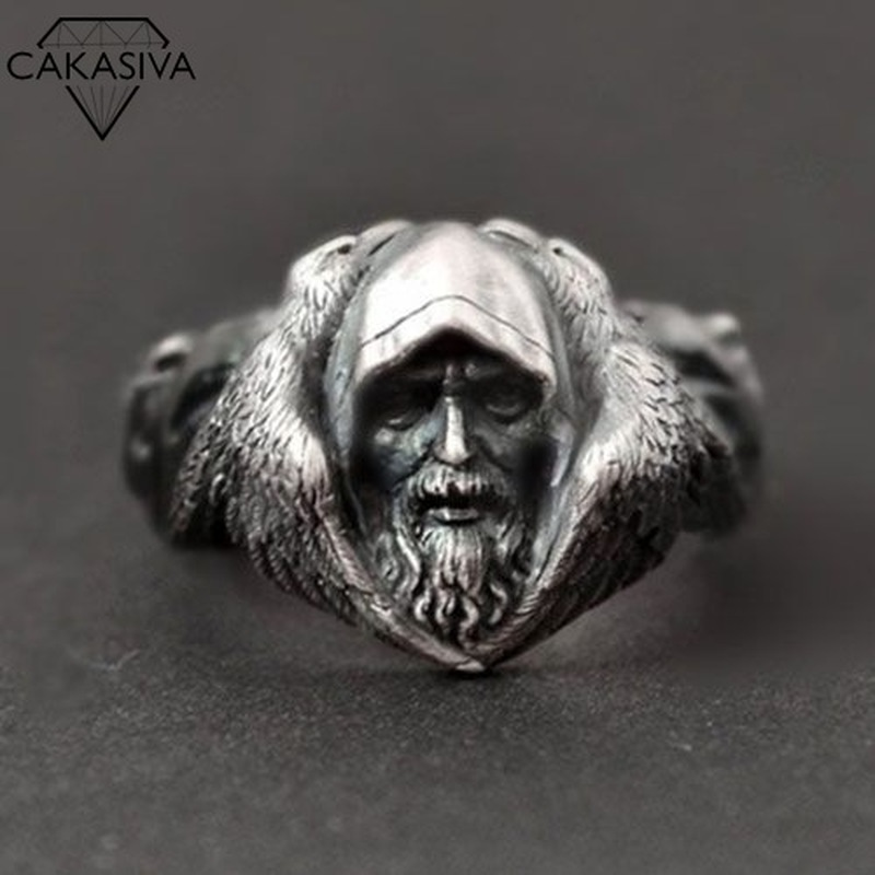 Scandinavian Myth Odin Great Spirit Viking Warrior Arctic Wolf 925 Marcasite Black Ring
