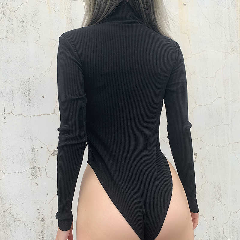Rapwriter Casual Turn-down Collar Ribben Ring Zipper Knitted Bodysuit Women 2019 Autumn Winter Long Sleeve Open Crotch Bodysui