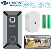 EKEN V6 wifi ドアベルスマートワイヤレス 720 1080p ビデオカメラクラウドストレージドアベルカム防水ホームセキュリティハウスベルグレー