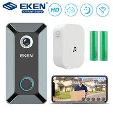 EKEN V6 wifi sonnette intelligente sans fil 720 P caméra vidéo Cloud stockage porte cloche cam étanche sécurité maison cloche gris
