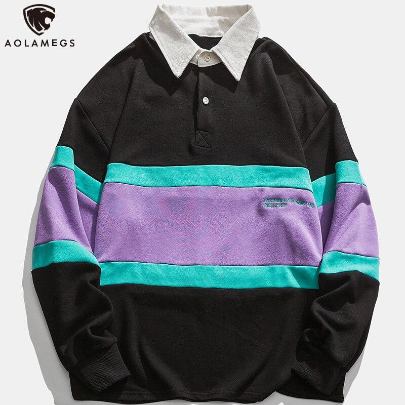 Свитшот Aolamegs мужской в полоску, модная повседневная пуловер аниме, свободный ретро джемпер в стиле Харадзюку, уличная одежда в стиле хип-хоп