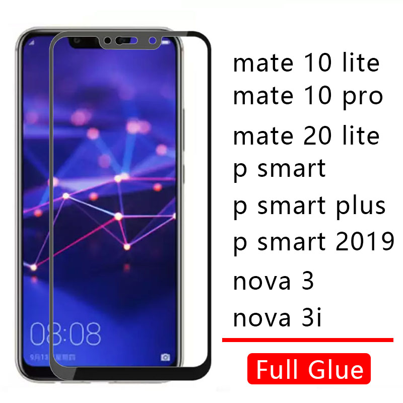 <font><b>Case</b></font> On For <font><b>Huawei</b></font> <font><b>Mate</b></font> <font><b>10</b></font> 20 <font><b>Lite</b></font> Pro P Smart Plus 2019 Nova 3 3i <font><b>Cover</b></font> <font><b>Full</b></font> Glue Tempered Glass Honor 10lite 20lite Light Film image