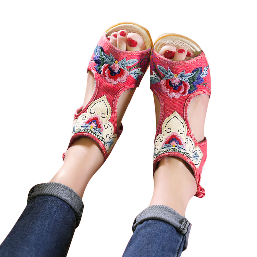 Women Sandals Matching Shoes Wedges-Color Fish-Mouth Mujer Retro National MUQGEM Embroidered