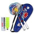 Ultraleicht badminton grip schläger Set + 6/3 badminton bälle Feder federball mit tasche Shuttlecocks Familie Sport