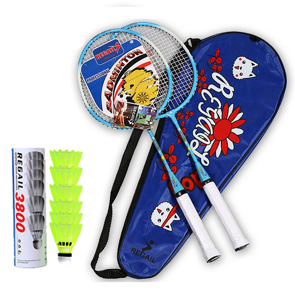 Ultralight Badminton Grip Racket Set +6/3 Badminton Balls Feather Shuttlecock With Bag Shuttlecocks Family Sports