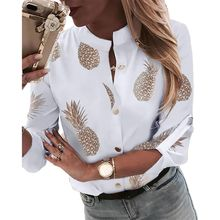 Womens Plus Size Roll Up Long Sleeve Metallic Pineapple Printed Stand Collar Blouse Button Down V-Neck Casual Loose Tops womens plus size roll up long sleeve metallic pineapple printed stand collar blouse button down v neck casual loose tops