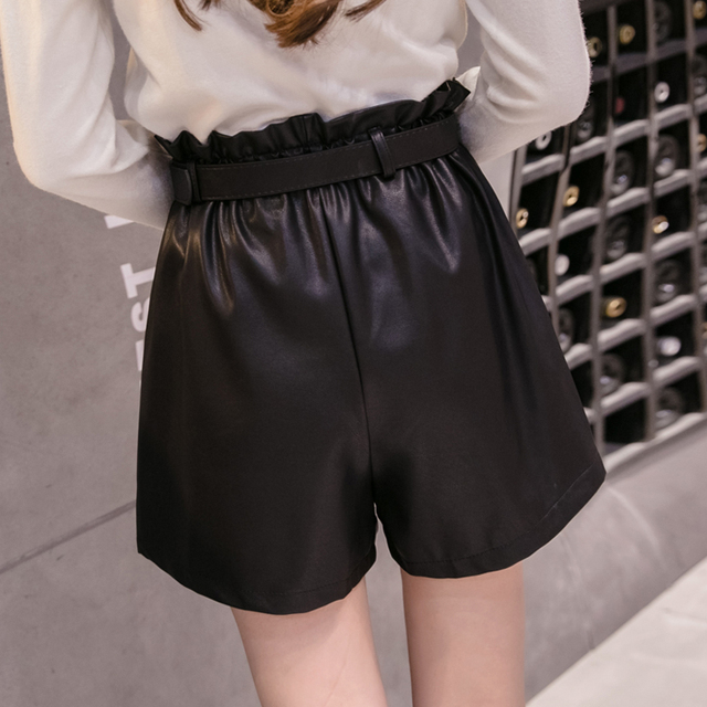 Elegant Leather Shorts Fashion High Waist Shorts Girls A-line  Bottoms Wide-legged Shorts Autumn Winter Women 6312 50 2