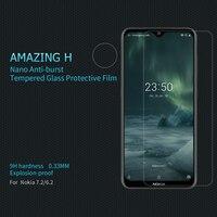 Para nokia 7.2 nokia 6.2 vidro nillkin incrível h anti-explosão 9 h 0.3mm protetor de tela de vidro temperado para nokia 7.2 capa