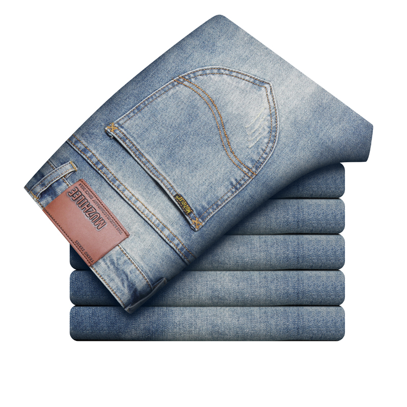 Fashion Brand Vintage Design Jeans Men Autumn Winter Thick Stretch Denim Pants Mens Straight High Quality Trousers Men's Jeans