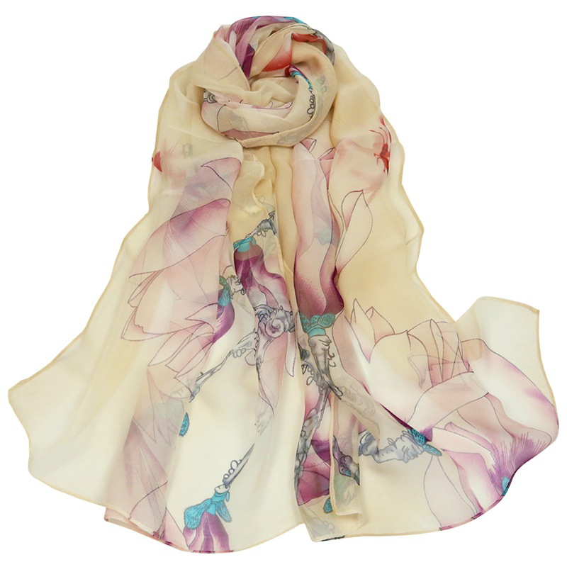 F amp U Fashion Women Lotus printing Scarf Long Soft Pink colorful Wrap Ladies Scarves Luxury Shawl In 4 Seasons in Women 39 s Scarves from Apparel Accessories
