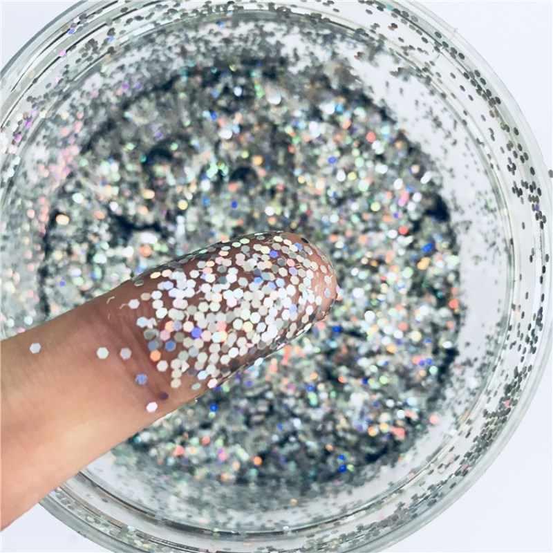 1mm arte do prego brilho pó hexagonal forma animal de estimação ultrafinos lantejoulas fina laser holográfico sparkly prata decoração da arte do prego