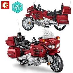 SEMBO 1205 шт. техника дизайн красный мотоцикл строительные блоки модель мотоцикла Кирпичи игрушки для дня рождения, рождественский подарок для...