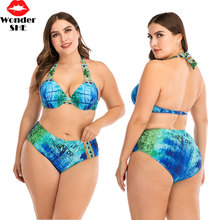 Plus size swimwear ladies 4XL halter bikini underwire swimsuit big size beachwear