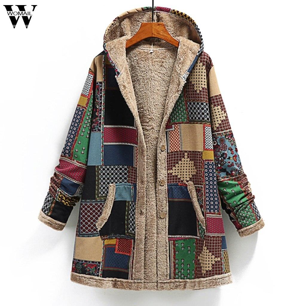Женское однобортное пальто с капюшоном и карманами, винтажное теплое пальто для мам, парки размера плюс с принтом, зима 2019|Парки|   | АлиЭкспресс