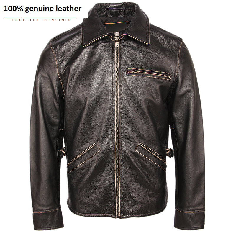 Classical Men Leather Jacket Edging Black 100% Natural Cowhide Skin Coat Men Bomber Leather Jackets Male Clothing Autumn M461