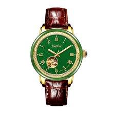 Hetian Jade Hohl männer Mechanische Uhren Lederband Erweiterte bewegung mit Jade Identifizierung Zertifikat Uhren Hombre