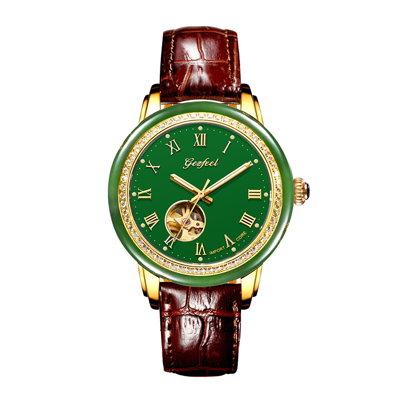 Hetian Jade Hollow Men's Mechanical Watches Leather Strap Advanced movement with Jade Identification Certificate Relojes Hombre