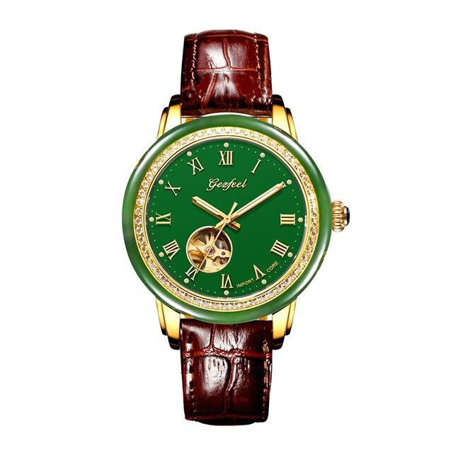 Tian Holle Mannen Mechanische Horloges Lederen Band Geavanceerde Beweging Met Jade Identificatie Certificaat Relojes Hombre