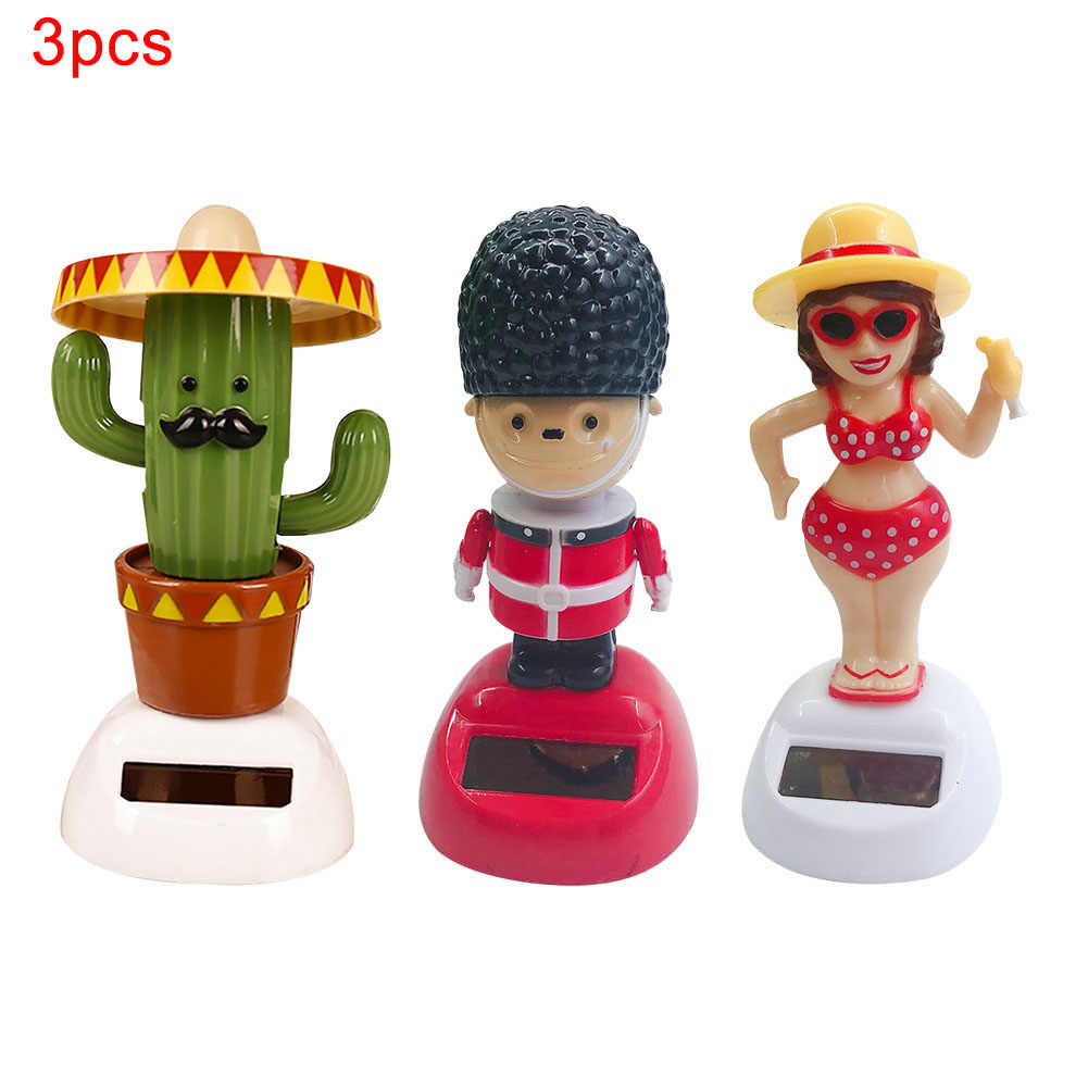 3pcs/set Shaking Head Toys Dancing Doll Solar Car Ornaments Bobblehead Car Dashboard Decor Auto Halloween Christmas Gifts