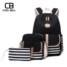 Canvas Waterproof Backpack Women School Bags For Girls 3pcs/set SchoolBag Travel Students