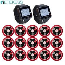 Retekess 433MHz אלחוטי קורא מערכת מסעדת הביפר 2pcs T128 מקלטי שעון + 15pcs T117 שיחת כפתורים מסעדה ציוד