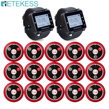 Retekess 433MHz Wireless Calling System Restaurant Pager 2pcs T128 Watch Receivers+15pcs T117 Call Buttons Restaurant Equipment
