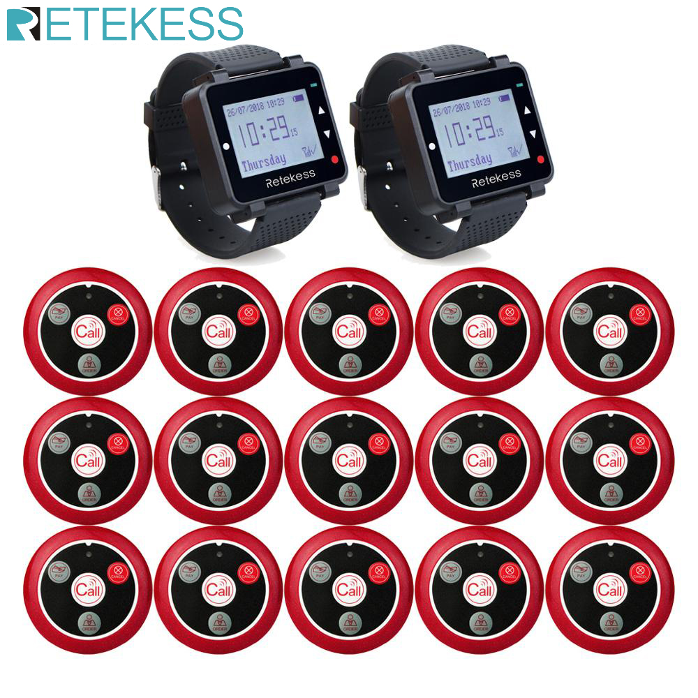 Retekess 433MHz Wireless Calling System Waiter Call Pager 2pcs Watch Receiver T128 + 15pcs Call Button T117 Restaurant Equipment-in Pagers from Computer & Office