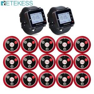 Image 1 - Retekess 433MHz sistema de llamadas inalámbrico restaurante buscapersonas 2 uds T128 receptores de reloj + 15 Uds T117 botones de llamada equipo de restaurante