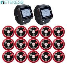 Retekess 433MHz système dappel sans fil Restaurant téléavertisseur 2 pièces T128 récepteurs de montre + 15 pièces T117 boutons dappel équipement de Restaurant