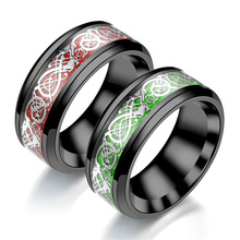 цена на 2019 Fashion New Blue Red Color Carbon Fiber Ring Classic Titanium Steel Charm Dragon Ring Delicacy Women Men Popular Jewelry
