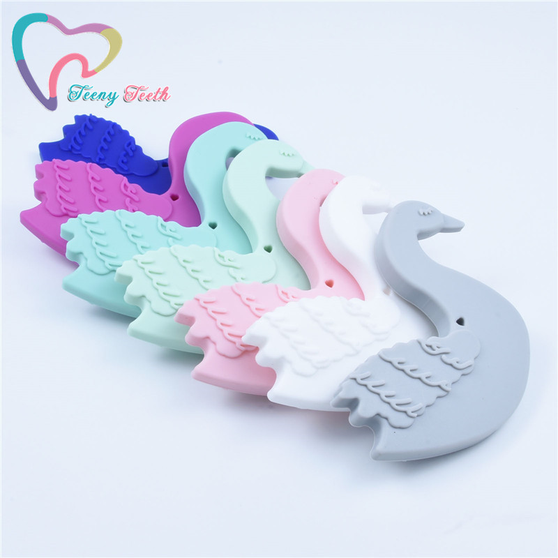 2 PCS BPA Free DIY Silicone Goose Teether Baby Cartoon Swan Pacifier Sensory Teether Pendant Toy Accessories Food Grade