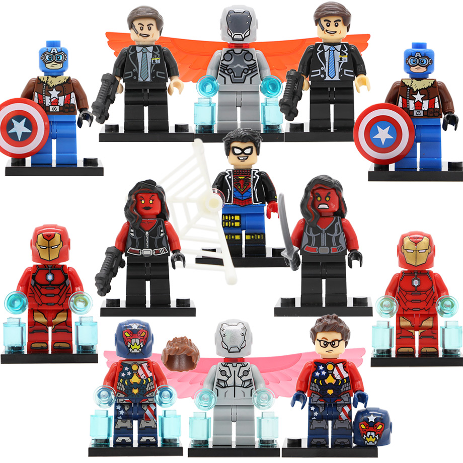 Single Super Hero Marvel Figure Hammer Spider Boy Iron Man Red She Hulk Super Adaptoid Coulson Building Blocks Set Toys Legoing