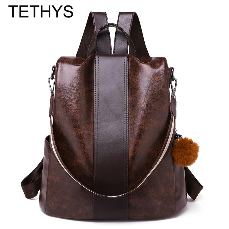 TETHYS Women Large Capacity Backpack Ladies Designer Backpacks Women High Quality Leather Backpacks Bag For Teenage Gilrs Bolsos