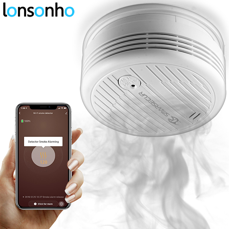 Lonsonho Tuya Wifi Smart Smoke Sensor Temperature Detector Smart Home Security Alarm System Smartlife App Notification