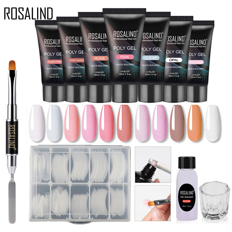 ROSALIND Polygel Nail Kit All For Manicure Gel Nail Extension Set Acrylic Solution Water Builder Gel Polish For Nails Art Design