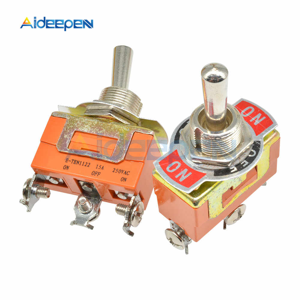 E-TEN1122 Toggle Switch 3 Terminal On-Off-On 3 Posisi 3 Pin Swithes 250V 15A AC dengan 12 Mm Tahan Air Switch Caps Orange