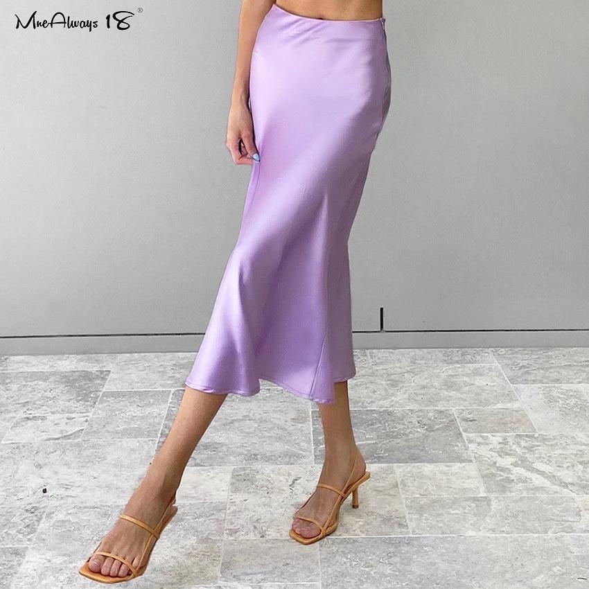 Mnealways18 Solid Purple Satin Silk Skirt Women High Waisted Summer Long Skirt New 2020 Elegant Ladies Office Skirts Midi Spring