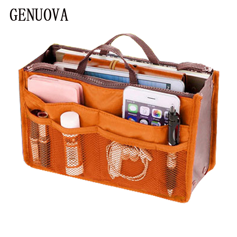 Portable Double Zipper Cosmetic Bag Multifunctional Pockets Makeup Bag Toiletries Kits Insert Organizer Bag Travel Folding Tote
